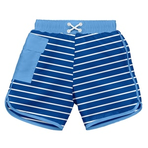 i play. Classic Pocket Board Shorts w/Built-in Reusable Absorbent Swim Diaper-Royal Stripe