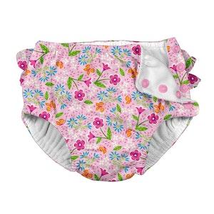 i play. Fun Ruffle Snap Reusable Absorbent Swimsuit Diaper-Pink Spring Garden