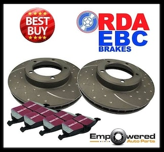 DIMPLED SLOTTED REAR DISC BRAKE ROTORS+PADS for Holden HSV VZ Series II 2005-06