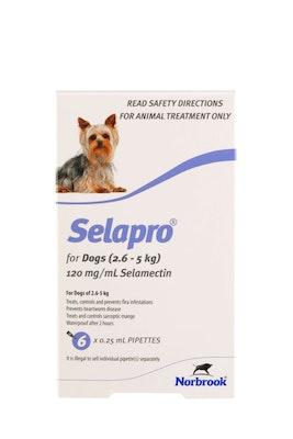 SELAPRO Spot On Treatment 2.6-5kg Dog 6 Pack
