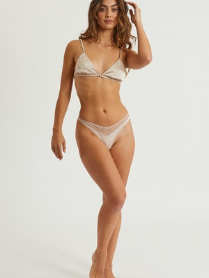 Goldie Satin Bralette and Thong Set - Silver