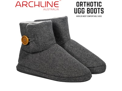 Boutique Medical Archline Orthotic Ugg Boots Slippers Snugg Arch Support Warm Mini Button - Grey