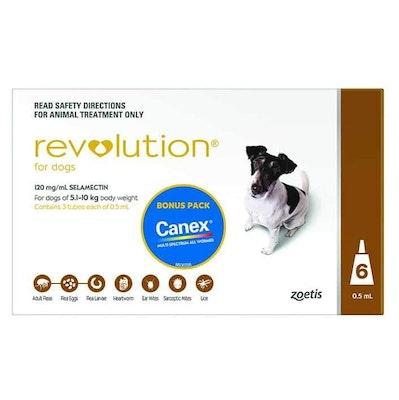 Revolution Brown Flea & Worming Treatment 5-10kg Dog 6 Pack