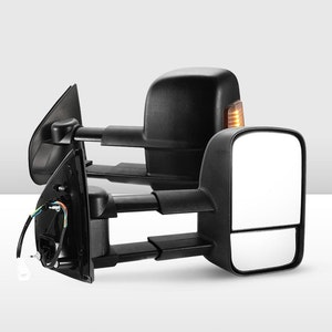 Pair Extendable Towing Mirrors for Isuzu D-MAX MY2012-2019 Black Pair