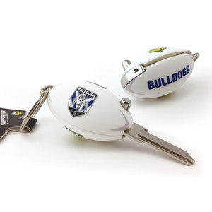 Creative Keys NRL Footy Flip Key Blank with Keyring LW4 - Canterbury Bankstown Bulldogs