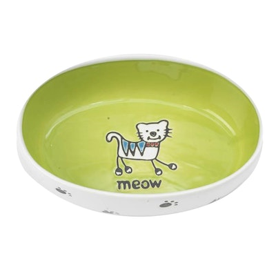 Petrageous Silly Kitty Ceramic Cat Bowl Oval Lime 16cm
