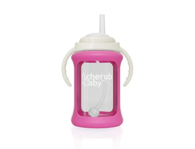 Wide Neck Glass Straw Cup with Colour Change Sleeve 240ml - Pink
