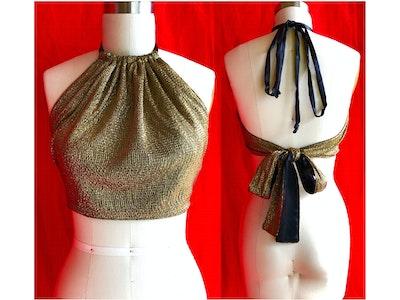 Spliced Eco Fashion Gold Vegan Designer Summer festival halter neck tie top. Size S to M. AU Size 8 to 12.