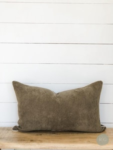 Cushion Cover - Cruze Khaki Corduroy Rectangle with chalk linen piping