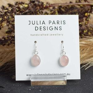 Rose Quartz Small Oval Dangle Earrings