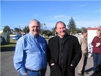 Mayor of Manatu Ian McKelvie shares a joke with Graham from GoSeeNewZealand