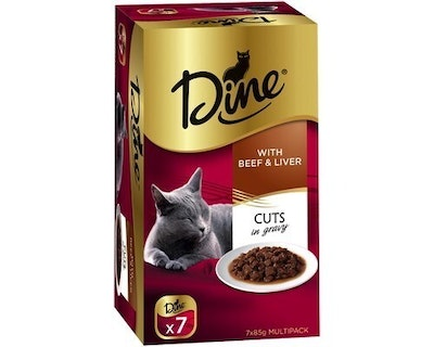 Dine w/ Beef and Liver Cuts in Gravy Wet Cat Food 7 x 85g