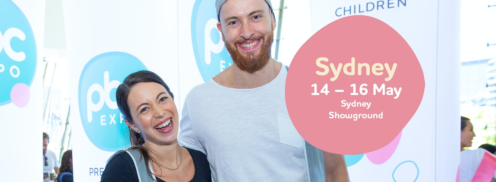 Image of a couple at the expo with a text box that reads Sydney 14th, 15th and 16th May, Sydney Showground