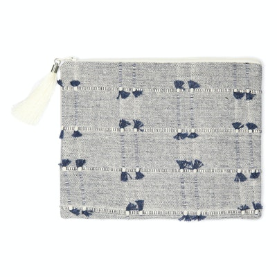 Global Sisters Shop Lucinda Leather Pouch - Navy & Grey