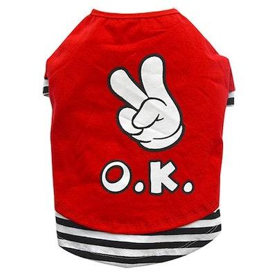 DoggyDolly THICK DOG - OK OK OK Red Doggy T Shirt