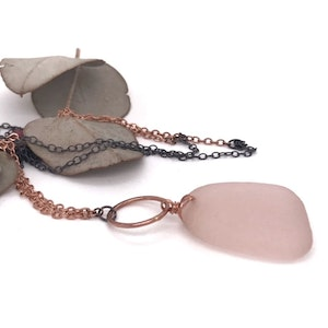 Long Necklace with Rare Pink Seaglass and 14k Rose Gold Circle