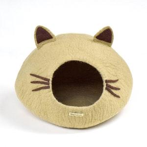 "Queenie's Pawprints Hand-felted Wool Cat Cave ""Khaki Head"""
