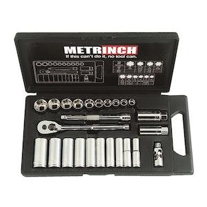 "Metrinch Socket 25pc Set 3/8"" Dr Standard and Deep Wall"