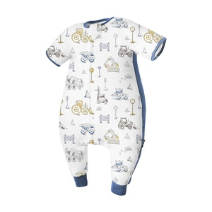 Domiamia  Silky Bamboo Cotton Short Sleeve Sleepsuit with Stretchy Side Panel- Engineering Team (0.23 Tog)