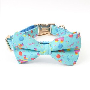 DoggyTopia Let's Get Smashed Birthday Collar & Double Bow Tie