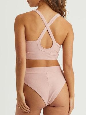 Elle Ribbed Knit Boyfriend Brief - Blush Pink
