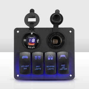 Vic Off Road 3 Gang Rocker Switch Panel ON-OFF Toggle Voltmeter USB 12V 24V