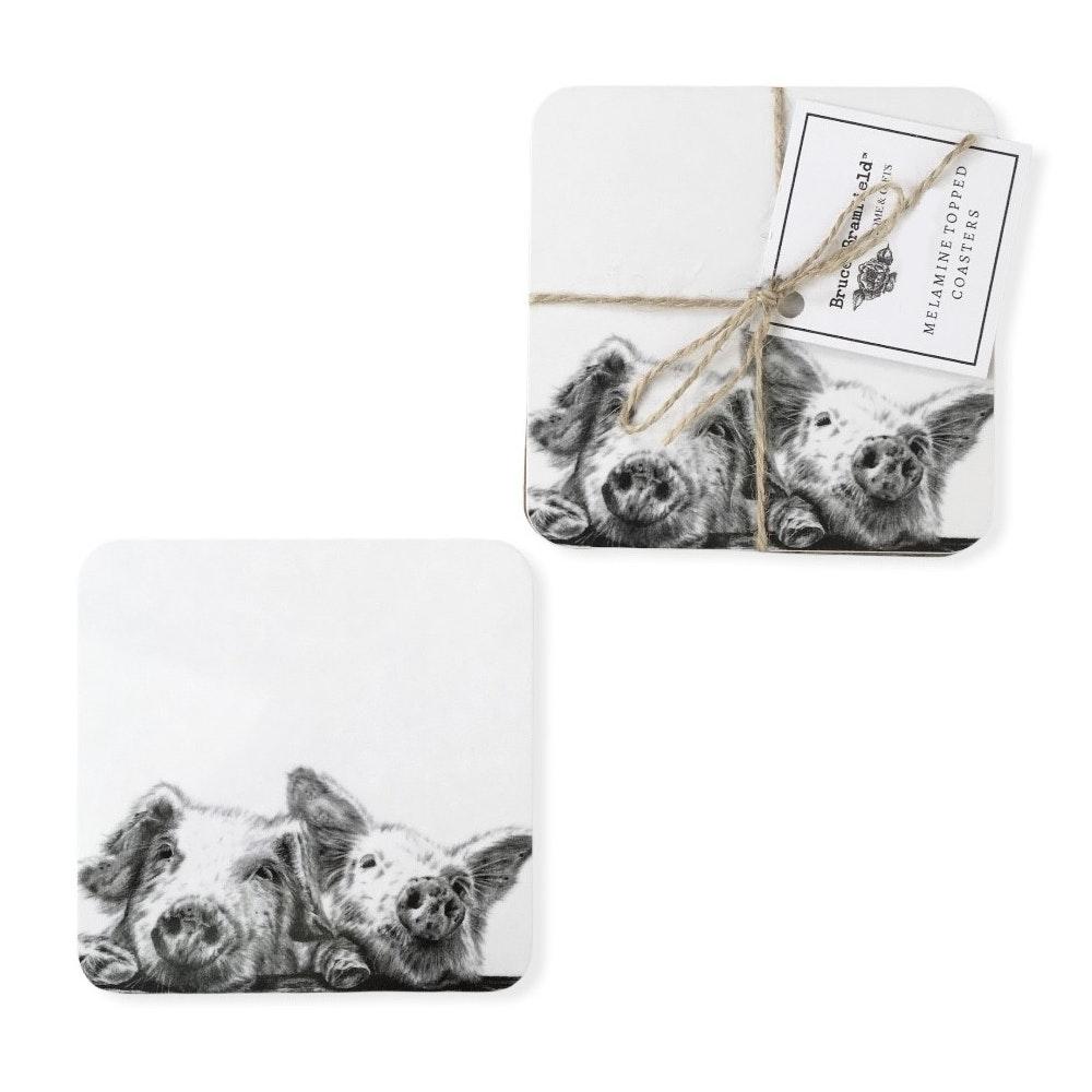 Bruce Bramfield Piggies Set Of Two Coasters