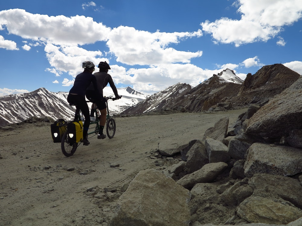 Tough hill climb cycling himalayas