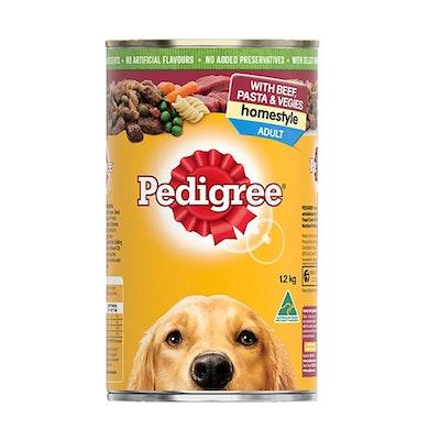 Pedigree Adult Homestyle Wet Dog Food Beef Pasta & Vegies 12 x 1.2kg