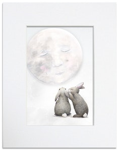 Moon Bunnies Print - Mounted in 20cm x 25cm Mount mat