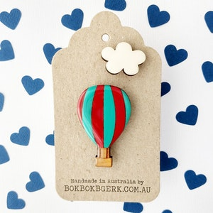 Hot Air Balloon and Cloud Brooch