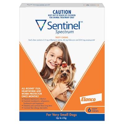 Sentinel Spectrum Tasty Chews Flea & Worming Treatment <4kg Dog