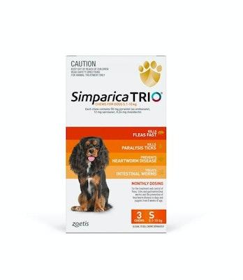 SIMPARICA TRIO 5.1kg - 10kg Dog Flea, Tick & Worm Chew