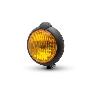 Bates Style Black Headlight - Yellow Lens