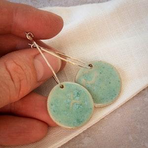 Sea Dreaming Sky Blue Ceramic Hoop Earrings