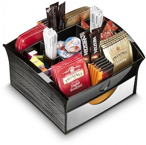 Boutique Medical CEP Deluxe Tea Coffee Storage Home Office Organiser Distributor Tray - Black