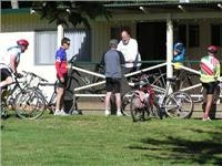 This group of cyclists  meet every year at Porepunkah Pines