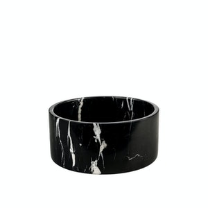 Houndztooth Marble Dog Bowls - Black Carrara