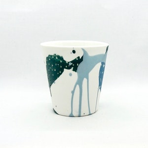Ceramic Cup - Jumbo - Painterly Forest/Blues