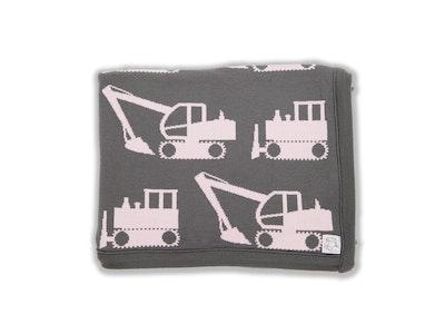 100% PURE Australian Merino Leroy Mac Designs Pink Excavator Blanket/Throw