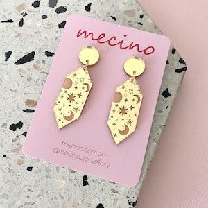 Celestial Drops - Mirrored Gold Acrylic Earrings