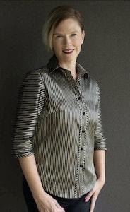 Zara   Gold-Black Stripe Shirt in Pure Silk