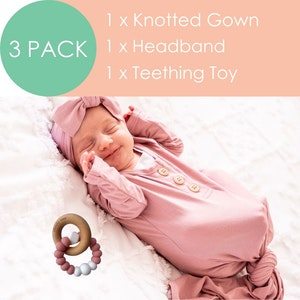 Marli & Me™ Knotted Gown + Headband + Charmed Teething Toy | BUNDLE
