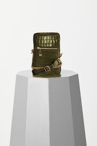 VASH - Ibiza Pouch MILITARY GREEN CROC LEATHER
