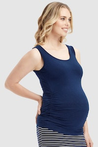 Sprout Maternity Bamboo Body Ruched Maternity Singlet (Navy)