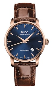Mido Baroncelli Midnight Blue Gent - Stainless Steel with Rose Gold PVD - Brown Leather Strap