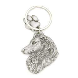 Key Companions Solid Fine Pewter Collie with Paw Keychain