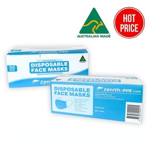 50 Pack 3 Ply Face Masks - Non Surgical - Disposable - Level 3 Australian Made by Zenith PPE