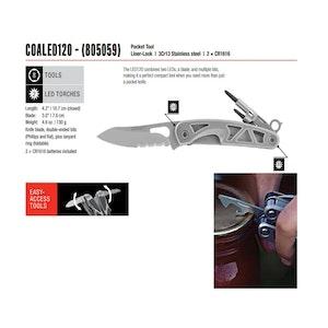 Coast Multi-Tool Pocket Knife with Screwdriver - Duel LED 7.5cm Blade