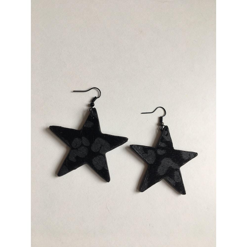 One of a Kind Club Black And Grey Animal Print Star Earrings
